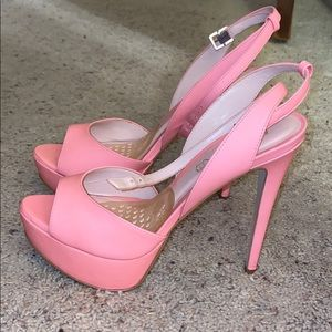 Pink strapped high heel shoes